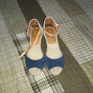 KANNA Espadrilles Sandals Blue Suede Straw Woven